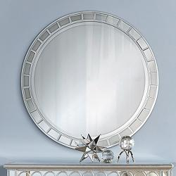 "Possini Euro Kesha 36"" Antique Silver Round Wall Mirror"