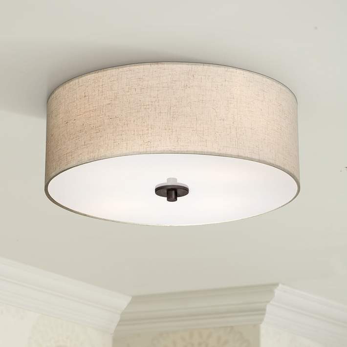 Sylvan 18 Wide Oatmeal Drum Ceiling Light 2n838 Lamps Plus