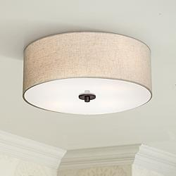"Sylvan 18"" Wide Oatmeal Drum Ceiling Light"