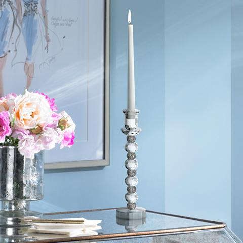 Crystal with Silver Accents Taper Candle Holder