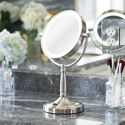"Satin Nickel Cordless 7"" Wide LED Lighted Vanity Mirror"
