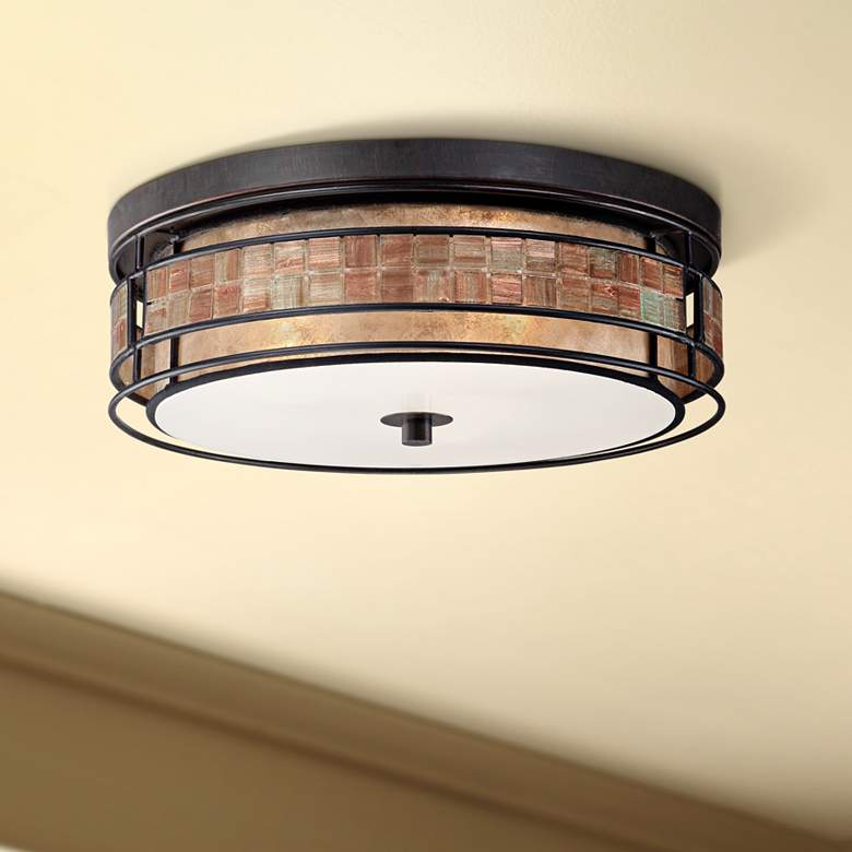 "Laguna 16"" Wide Copper Tile and Mica Glass Ceiling Light"