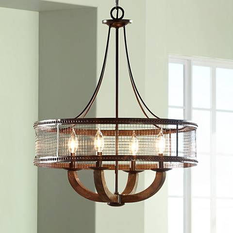 Frankton industrial 22 wide bronze chandelier 2r744 lamps plus frankton industrial 22 wide bronze chandelier aloadofball Choice Image