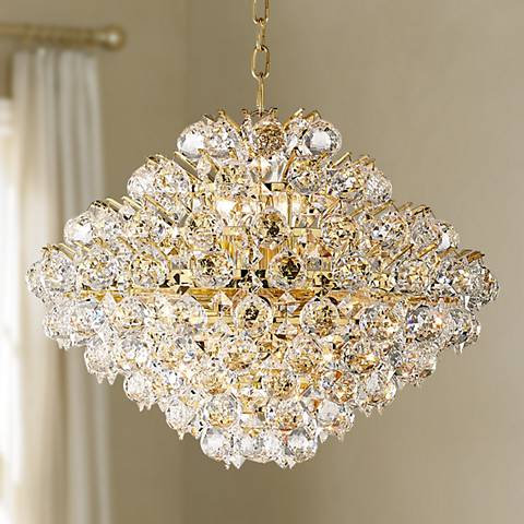 "Vienna Full Spectrum Essa 20"" Wide Gold - Crystal Pendant"