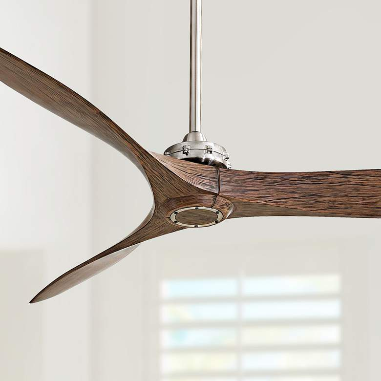 "60"" Minka Aire Aviation Brushed Nickel and Maple"