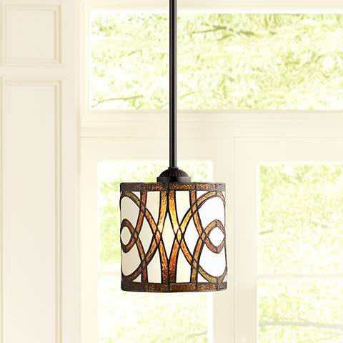 "Circles Tiffany-Style Art Glass 7"" Wide Mini-Pendant Light"