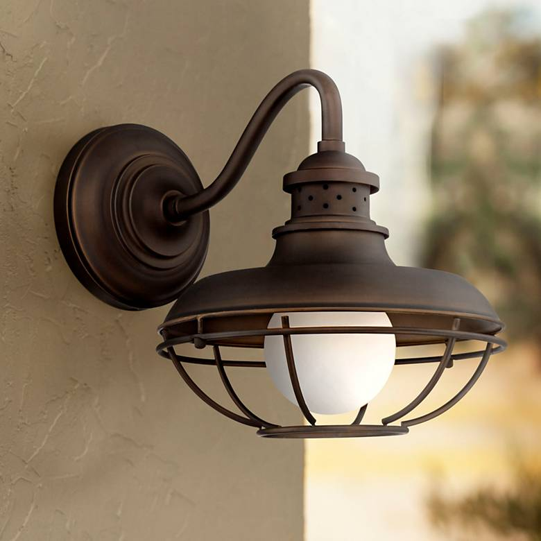 "Franklin Park 13"" High Bronze Metal Cage Outdoor Wall Light"