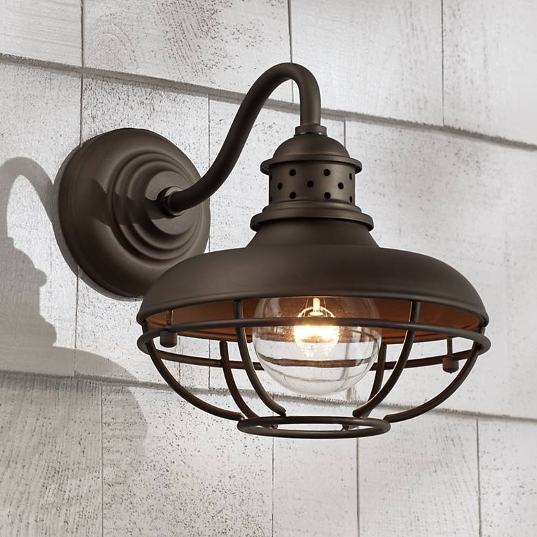 "Franklin Park 9"" High Bronze Metal Cage Outdoor Wall Light"