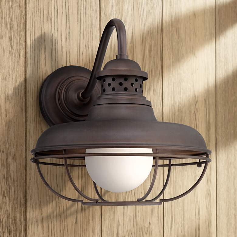 "Franklin Park 16"" High Bronze Metal Cage Outdoor Wall Light"