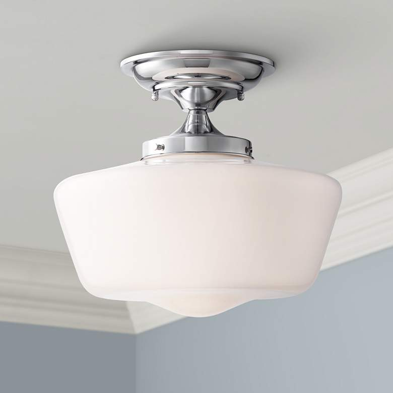 Schoolhouse Floating 12 Wide Chrome Opaque Ceiling Light