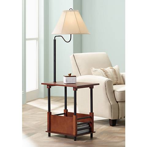 Marville Mission Style Swing Arm Floor Lamp With End Table - Marville Mission Style Swing Arm Floor Lamp With End Table
