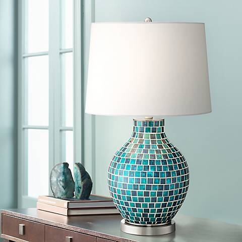 Teal Blue Glass Mosaic Jar Table Lamp with 9W LED Bulb