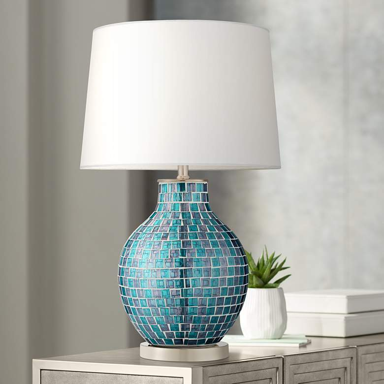 Teal Blue Glass Mosaic Jar Table Lamp 2t937 Lamps Plus