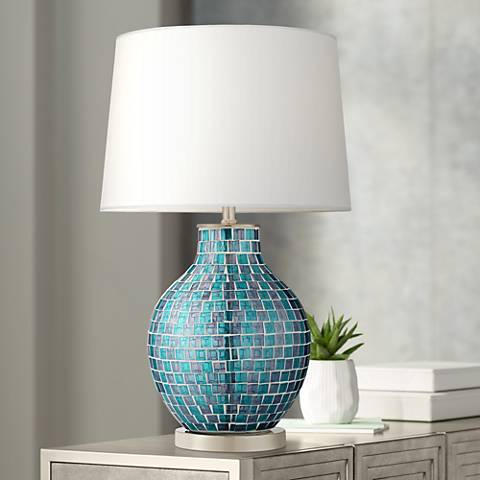 Teal Blue Glass Mosaic Jar Table Lamp