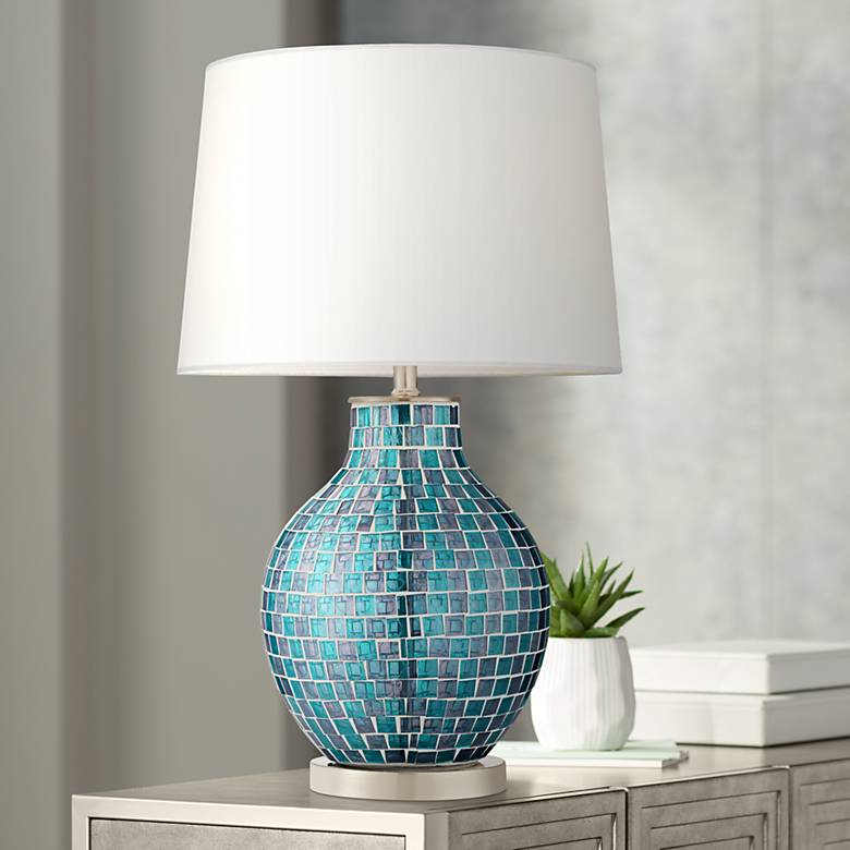 Teal Blue Glass Mosaic Jar Table Lamp 2t937 Lamps