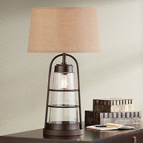 Industrial Lantern Table Lamp with Night Light with 9W LED Bulb