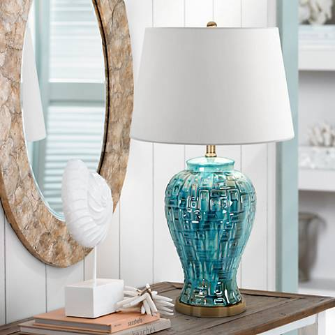 "Teal Temple Jar 27"" High Ceramic Table Lamp"