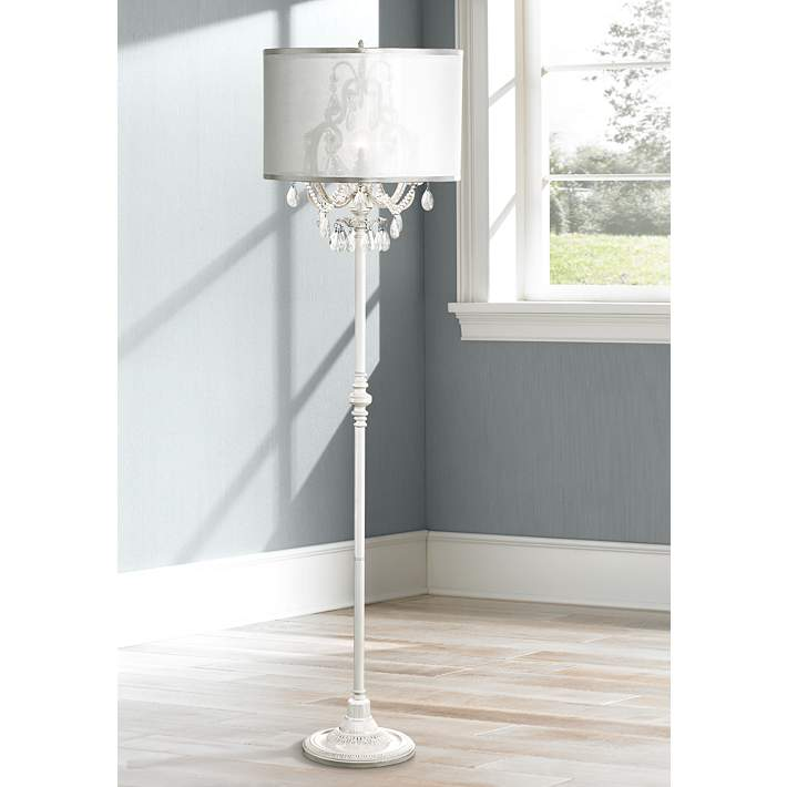 Ciara D Antique White Crystal Chandelier Floor Lamp
