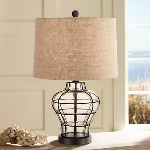 "Croyton 22"" High Clear Blown Glass Table Lamp"