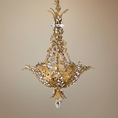 "Schonbek Amytis Ray Crystal 20"" Wide Gold Pendant Chandelier"