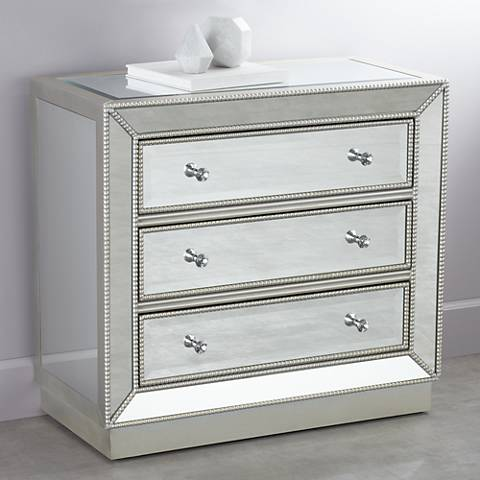 "Trevi Mirrored Silver 32"" Wide 3-Drawer Accent Chest"