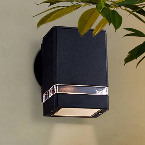 Possini Euro Ridgeland Black Rectangular Outdoor Wall Light