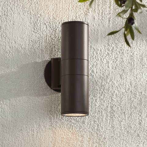 "Possini Euro Ellis 11 3/4""H Brown Up-Down Outdoor Wall Light"