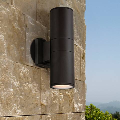 "Possini Euro Ellis 11 3/4""H Black Up-Down Outdoor Wall Light"