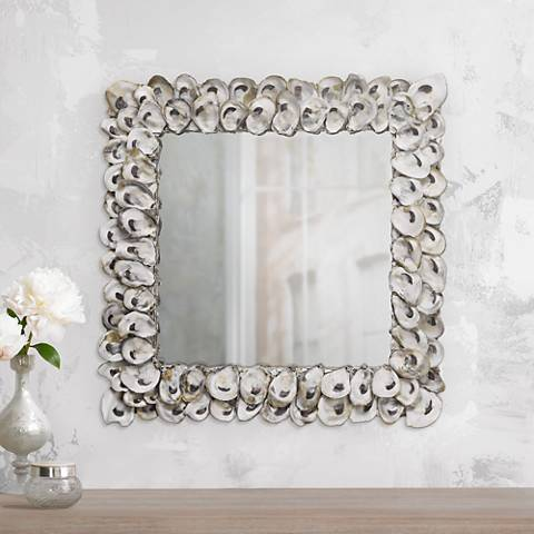 "Currey And Company 20"" Square Oyster Shell Wall Mirror"