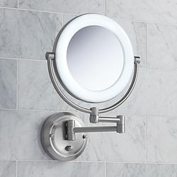 "Surround Lighted 12 3/4"" High Satin Nickel Makeup Mirror"