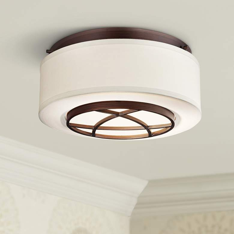 "City Club 15"" Wide Brushed Bronze Flushmount Ceiling"