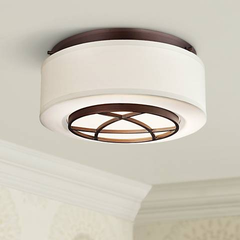 "City Club 15"" Wide Brushed Bronze Flushmount Ceiling Light"