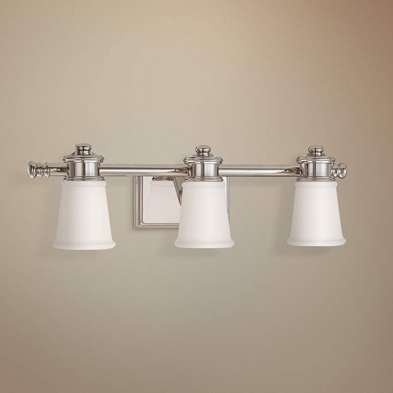 "Transitional 23 1/2"" Wide Polished Nickel 3-Light Bath Light"