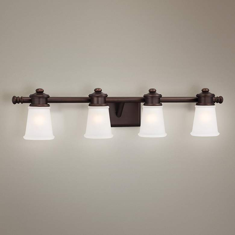 "4-Light 31 3/4"" Wide Bath Fixture in Brushed Bronze"