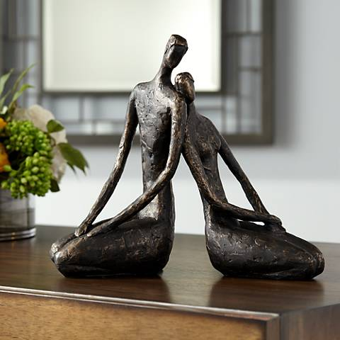 "Loving Couple 11 1/2"" Wide Bronze Sculpture"