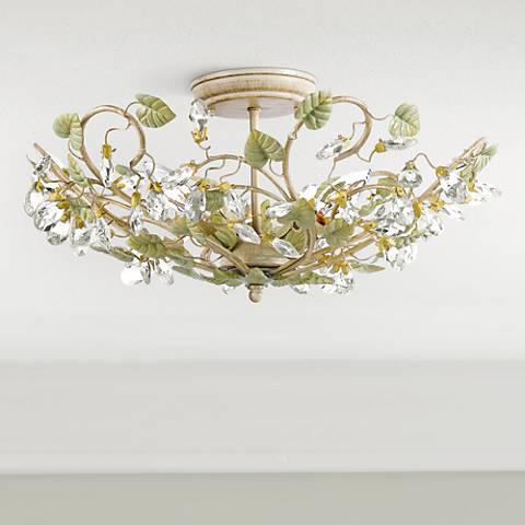 "Crystorama Josie 20 1/2"" Wide Floral Crystal Ceiling Light"