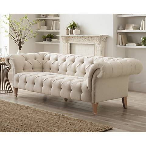 "Tessa 90 3/4"" Wide Tufted Beige Linen French Sofa"