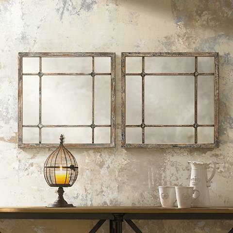 "Set of 2 Saragano 19"" Square Distressed Wall Mirrors"