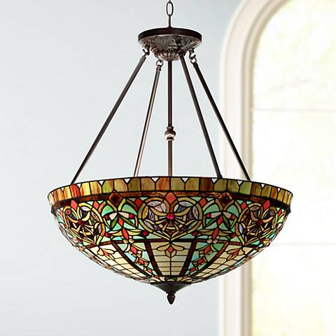 "Corazon Bronze 25"" Wide Robert Louis Tiffany Pendant Light"