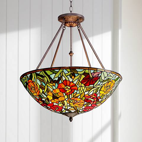 "Rosa 25"" Wide Bronze Tiffany Style Glass Pendant"