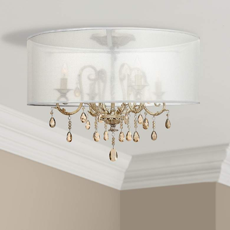"Hinkley Carlton 24"" Wide Silver Leaf Ceiling Light"