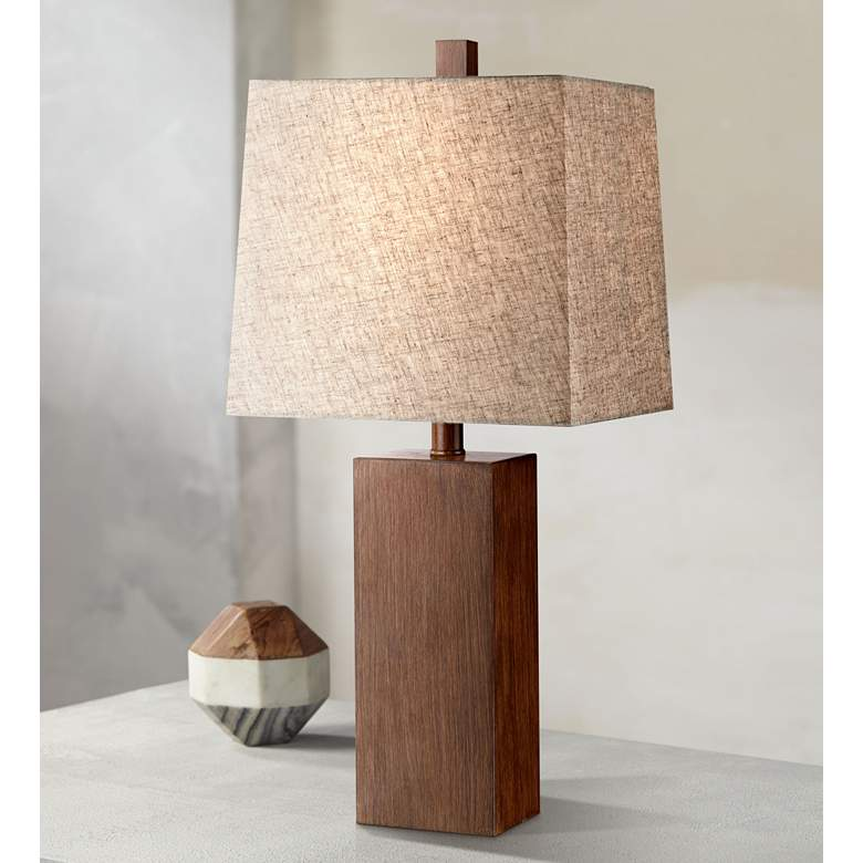 Darryl Wood Finish Rectangular Table Lamp