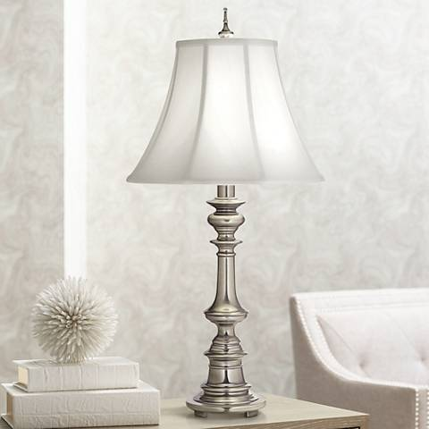 Stiffel Silk Shantung And Antique Nickel Table Lamp