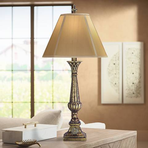Stiffel Amber Tortoise Shell Table Lamp