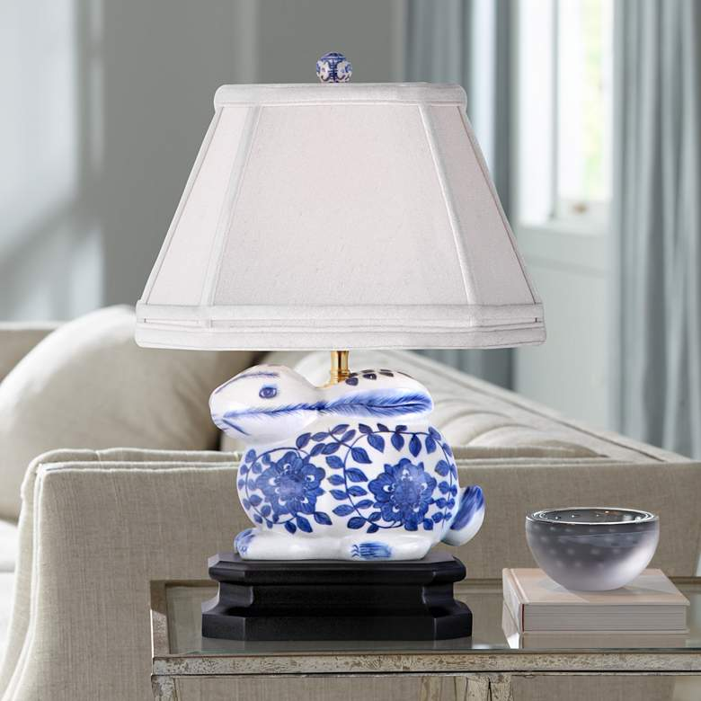 Blue And White 16 Quot H Porcelain Bunny Accent Table Lamp