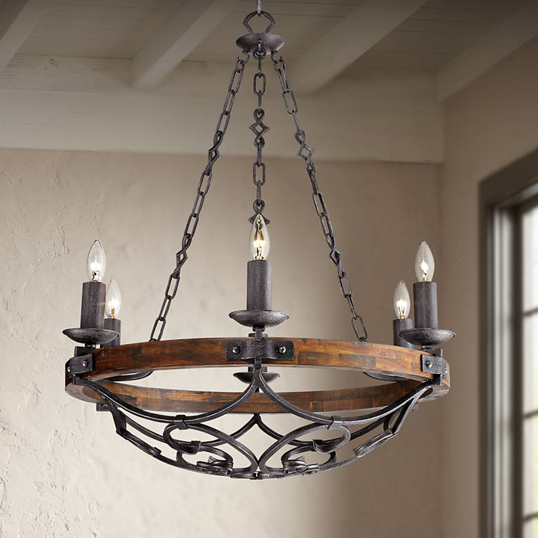 "Madera 28 1/4"" Wide Black Iron Hand-Forged Chandelier"