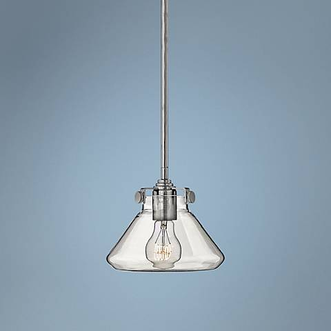 "Hinkley Congress 8"" Wide Clear Glass Chrome Mini Pendant"