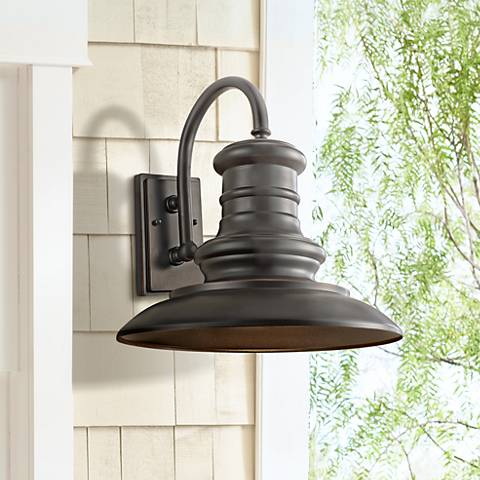 "Feiss Redding Station 15"" Bronze Outdoor Wall Lantern"