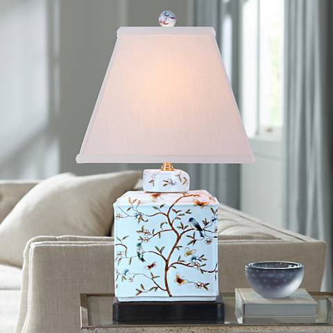 "Floral 20"" High Rectangular Porcelain Jar Accent Table Lamp"