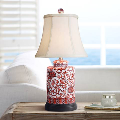 Orange Floral Porcelain Oval Jar Table Lamp
